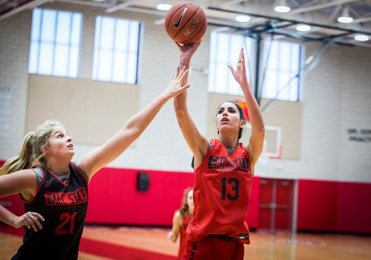 Ball State's Anna Gamarra attempts a shot while practicing with teammates at the Dr. Don Shondell Practice Center Tuesday, Oct. 22, 2019.