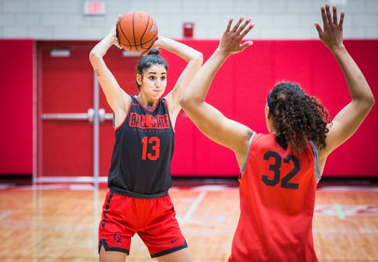 Ball State's Anna Gamarra looks to pass while practicing with teammates at the Dr. Don Shondell Practice Center Tuesday, Oct. 22, 2019.