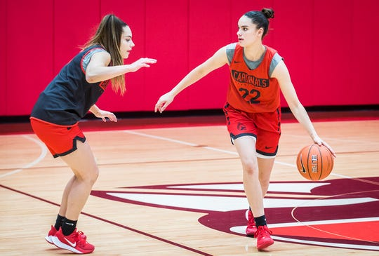 Ball State's Estel Puiggros looks for an opening while practicing with teammates at the Dr. Don Shondell Practice Center Tuesday, Oct. 22, 2019.