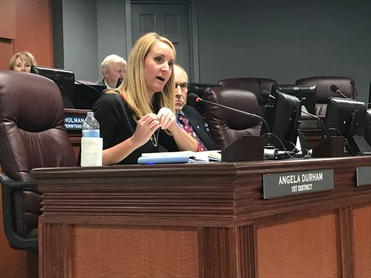 Williamson County Board of Education member Angela Durham, 1st District, speaks during the board meeting on Monday.