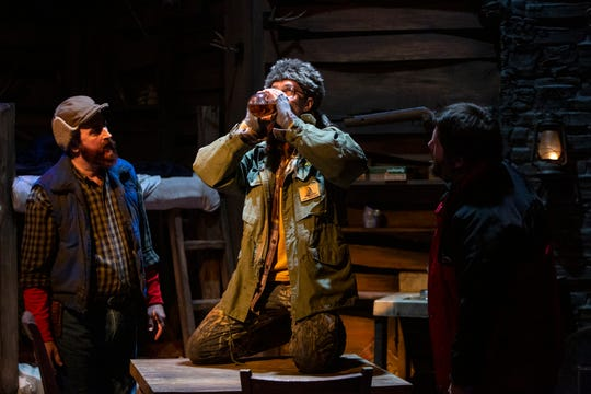"Mark Vanagas, left, Paul Polomsky and Michael Santos star in the Naples Players production of ""Escanaba in da Moonlight"", Monday, Oct. 21, 2019, at the Sugden Community Theatre in Naples."