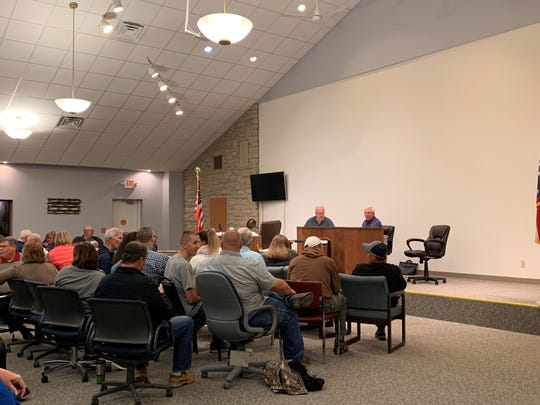 About 75 people gathered for a Union Township trustees meeting on Oct. 21, 2019 to discuss the possible formation of a fire district between Union Township and Hebron.