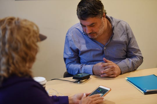 David Berman, 58, of Morristown, who has Meningioma, receives a Smartphone Techniques during a tech class for the blind at Vision Loss Alliance in Denville on 10/22/19.