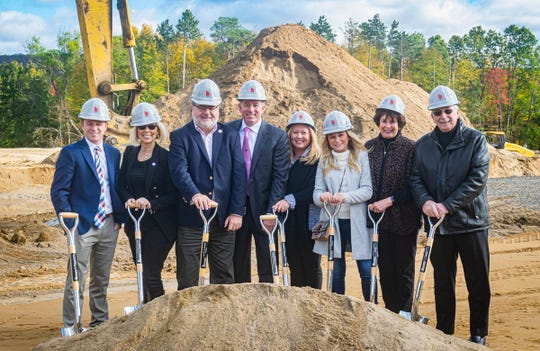 Councilwoman Aileen Rivera, second from left, and Mayor Christopher Vergano, third from left, join March Associates representatives at the groundbreaking ceremony on Oct. 18.