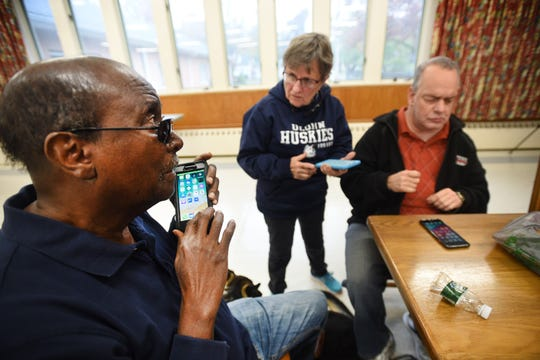 Students, (L to R,no last names), Leroy, 74, Ursula and Paul, 52, are learning on Smartphone Techniques during a class at Vision Loss Alliance in Denville on 10/22/19.