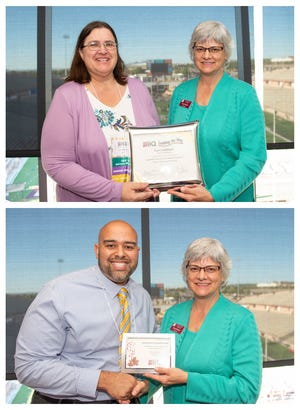 """Top: New Mexico State University Provost Carol Parker (right) presents Conni DeBlieck, nursing associate professor, with the """"Leading the Way"""" award for professional growth in online teaching and learning at the IIQ awards Oct. 9. Bottom: New Mexico State University Provost Carol Parker (right) presents Rene Guillaume, educational leadership assistant professor, with the award for """"Quality Matters Nationally Recognized Course"""" during the IIQ awards Oct. 9."""