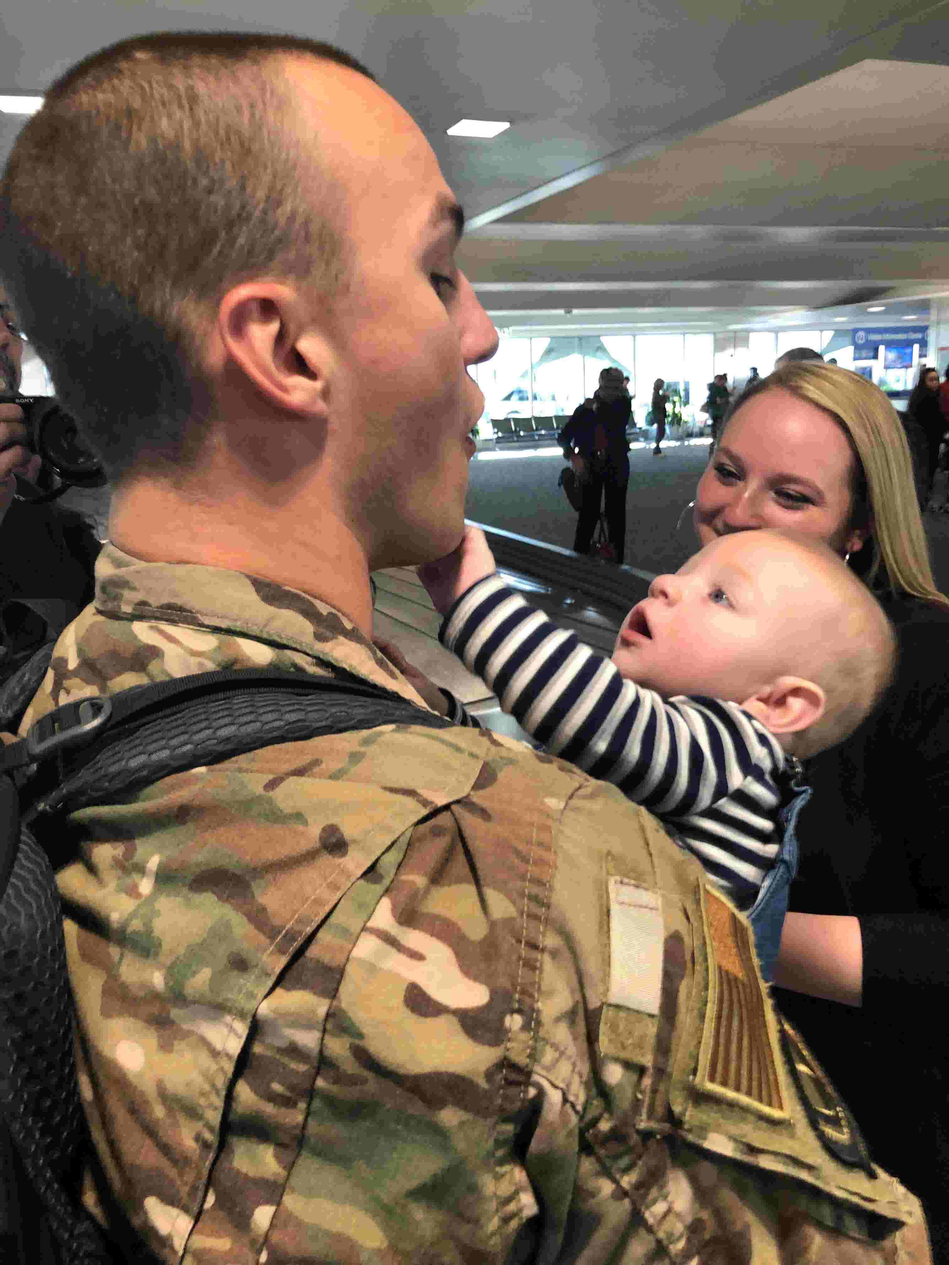 Dad finally meets his son born day after he deployed for Middle East