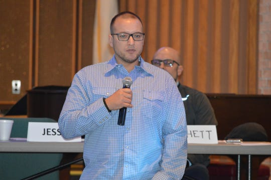 Jesse Andrews shares his addiction recovery experiences Saturday, Oct. 19, 2019, at the Milford United Methodist Church.