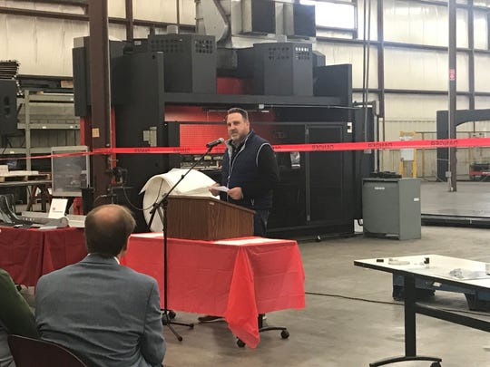 Dan Ruedinger, president of SMC Metal Fabrications, speaks Tuesday, Oct. 22, 2019, at a graduation ceremony for press brake operators at Wald Wiring & Manufacturing Co. in Oshkosh.