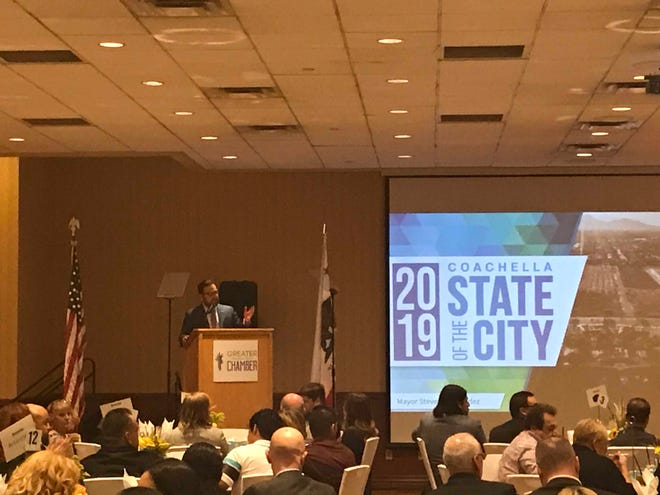 Mayor Steven Hernandez delivers the 2019 Coachella State of the City on Tuesday, Oct. 29 at Spotlight 29.