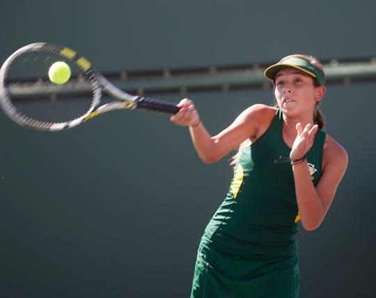 Coachella Valley High School's Maritssa Nolasco plays the DVL Finals against her team mate Lydia Rodriguez held at Indian Wells Tennis Garden on October 22, 2019.