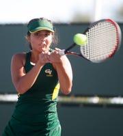 Coachella Valley High School's Lydia Rodriguez plays the DVL Finals against her teammate   Maritssa Nolasco  held at Indian Wells Tennis Garden on October 22, 2019.