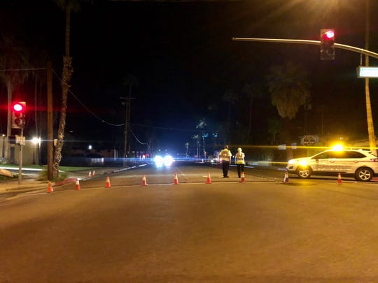 Police close South Palm Canyon Drive after a fatal collision closed the road Monday night.