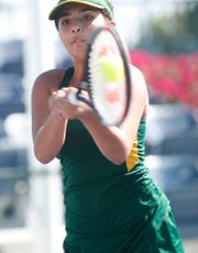 Coachella Valley High School's Lydia Rodriguez plays her semi-final match against Indio High School's Dayrin Lopez during the DVL Finals held at Indian Wells Tennis Garden on October 22, 2019.