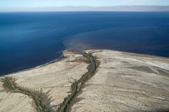 The New River drains into the Salton Sea on the sea's southeast side in this aerial photo, October 17, 2019.  Aerial support provided by LightHawk