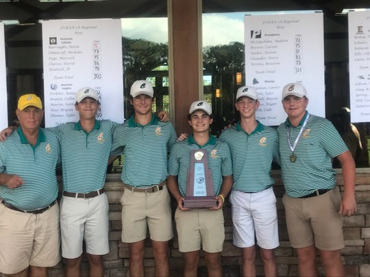 Catholic golf won a Region 1-1A championship on Tuesday at World Golf Village. (L to R) coach John Walker, David Chaves, JP Birdwell, Nicholas Dimitroff, Maxwell Page and Justin Burroughs (low medalist).