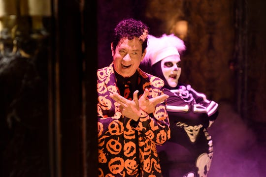 "Tom Hanks as David Pumpkins and Bobby Moynihan during the ""Haunted Elevator"" sketch on October 22, 2016 --"