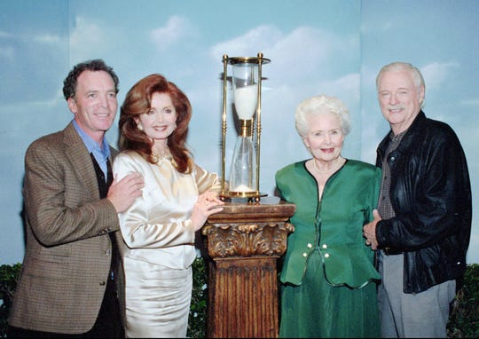 """Days of Our Lives"" executive producer Ken Corday (from left), actress Suzanne Rogers, actress Frances Reid and actor John Clarke celebrate the the program in 1997."