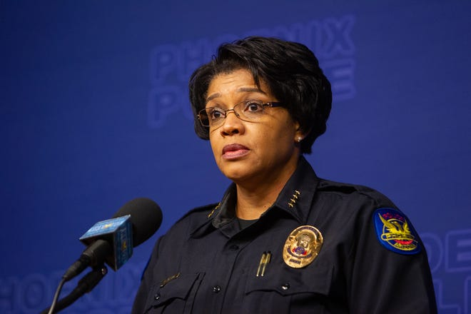 Phoenix Police Chief Jeri WIlliams spoke at a Phoenix police press conference regarding multiple internal investigations and the firing of three officers, Oct. 22, 2019.