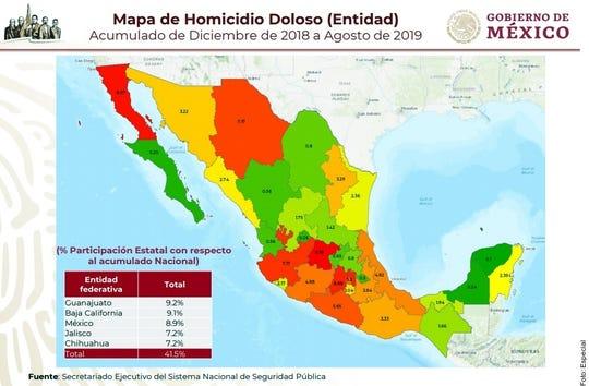 Mapa de homicidios violentos.