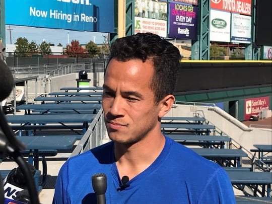 Reno 1868 FC defender Brent Richards talks to the media Tuesday at GNF