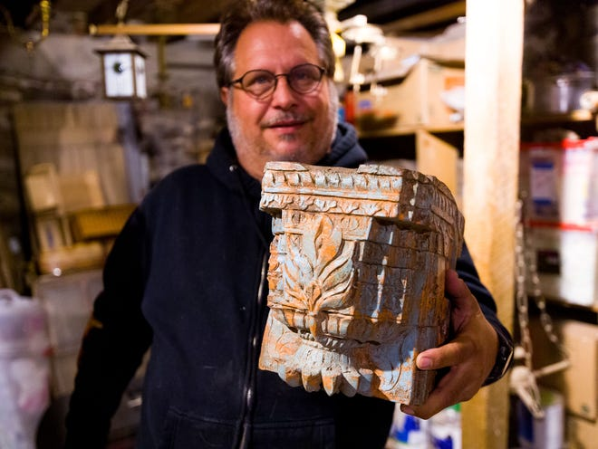 Glenn Hasbrouck collects antiques, like this decorative piece from India.