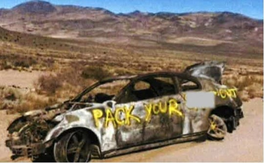 The Washoe County Sheriff's Office releases a photo of car that was found burned and abandoned off of Winnemucca Ranch Road in the Moons Rocks area, just north of Spanish Springs, on Sunday, Oct. 20, 2019. Authorities are searching for the owner,  20-year-old Kenyon Wilson, who was reported missing and last seen on Oct. 8, 2019 in Sparks.