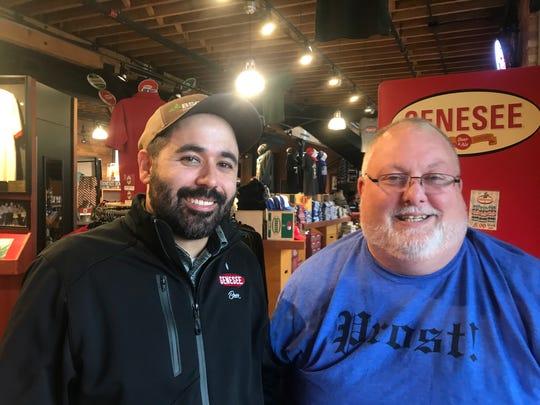 Genesee brewmaster Steve Kaplan, left, and Genesee Brew House brewmaster Dean Jones.