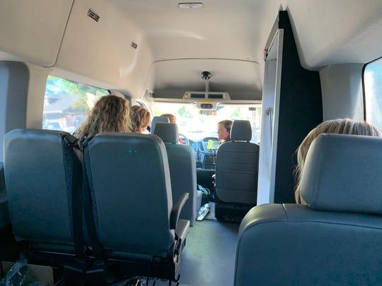 Riders inside a ShastaConnect Sunday shuttle.