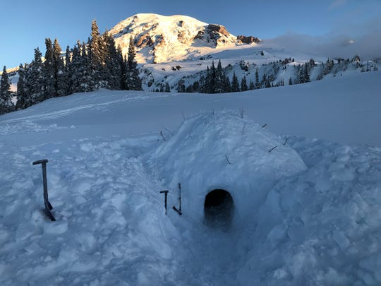 Part of the Wilderness Leadership and Experiential Education program includes learning how to build a snow cave.
