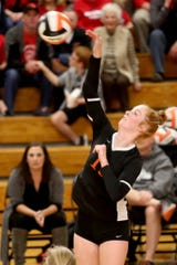 Silverton's Riley Traeger (13) competes in the Kennedy vs. Silverton volleyball match at Silverton High School on Oct. 21, 2019. Kennedy won in five sets.