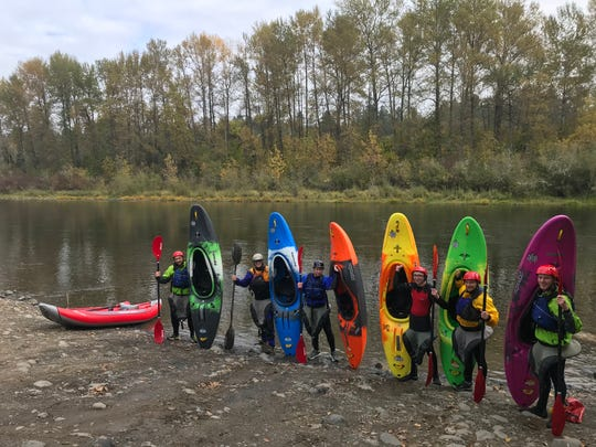 Students in the Wilderness Leadership and Experiential Education prepare for a kayak outing