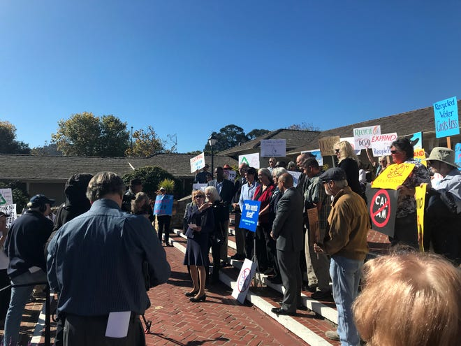 Monterey County Supervisor Jane Parker speaks to protesters and local government leaders gathered on the lawn of Colton Hall in Monterey to rally against California American Water's proposed desal plant. Oct. 21, 2019.