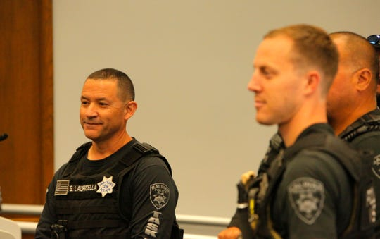 Salinas Police Sgt. George Lauricella watches a press conference Oct. 22, 2019, on a summer operation by the the Violence Suppression Task Force. Lauricella is one of the team's leaders.