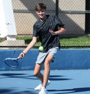 San Angelo Central High School's Cameron Clark is a tall order for a lot of his opponents. He's shown during practice at the Tut Bartzen Tennis Complex on Monday, Oct. 21, 2019.