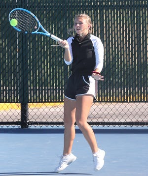 San Angelo Central High School's Kelsey Bishop hits a shot during practice at the Tut Bartzen Tennis Complex on Monday, Oct. 21, 2019.