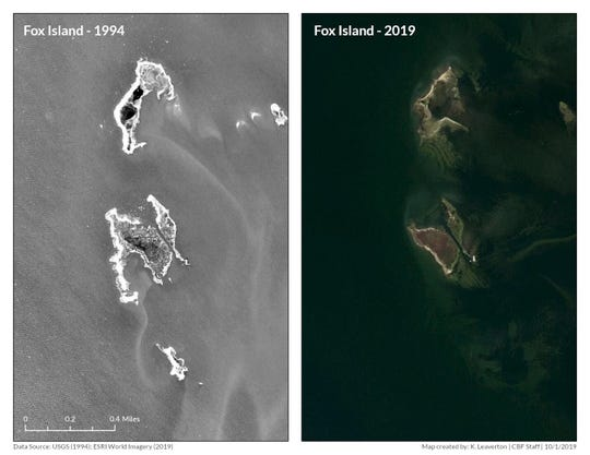 Then and now ... Fox Island in 1994 and in 2019.