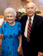 Mary and Snow Terry at an observance of their 75th wedding anniversary.