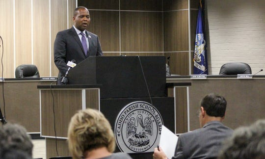 Caddo Parish superintendent Lamar Goree speaks during a news conference on Tuesday, Oct. 22, 2019.