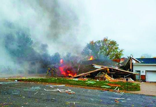 A house was destroyed and another was damaged following a gas explosion Tuesday morning in Paynesville.