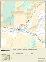 A map of the general location of the land sale. The red indicates the 65 acres which are along Kolob Terrace Road.