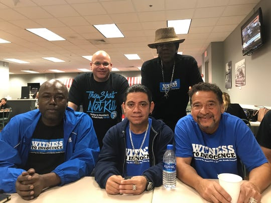 Left to right in front, Herman Lindsey, Clemente Aguirre, Juan Melendez. Standing are Seth Penalver and Derek Jamison. All five men served time on death row before their convictions were overturned.