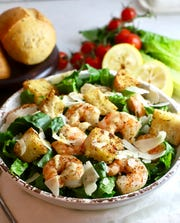Roasted Shrimp Caesar Salad is relatively low in calories coming in at only 311 calories per serving.