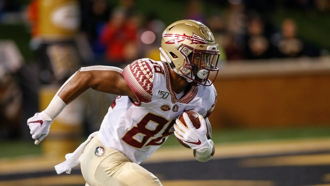 Florida State wide receiver Tre'Shaun Harrison returns a Wake Forest kickoff in the first half of an NCAA college football game in Winston-Salem, N.C., Saturday, Oct. 19, 2019. (AP Photo/Nell Redmond)