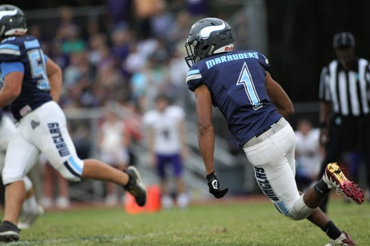 Maclay senior receiver Robert Parker-Crawford turns a short pass into a 55-yard touchdown as the Marauders beat Marianna 51-30 on Monday, Oct. 21, 2019, during a make-up of a Friday postponement.