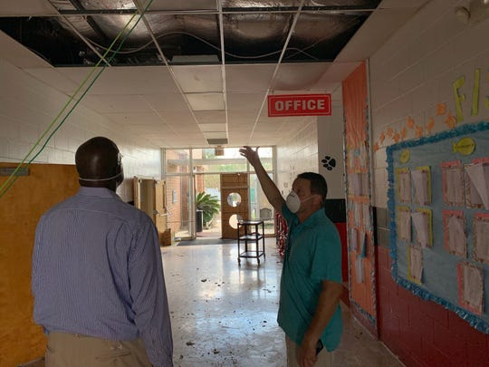In the days after Hurricane Michael hit K-12 Chancellor Hershel Lyons toured Blountstown Elementary with then Calhoun County School District Superintendent  Ralph Yoder.