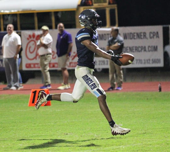 Maclay senior receiver Robert Parker-Crawford scores a 50-yard touchdown as the Marauders beat Marianna 51-30 on Monday, Oct. 21, 2019, during a make-up of a Friday postponement.