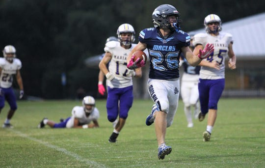 Maclay freshman Rhyder Poppell takes off on a 60-yard touchdown reception as the Marauders beat Marianna 51-30 on Monday, Oct. 21, 2019, during a make-up of a Friday postponement.