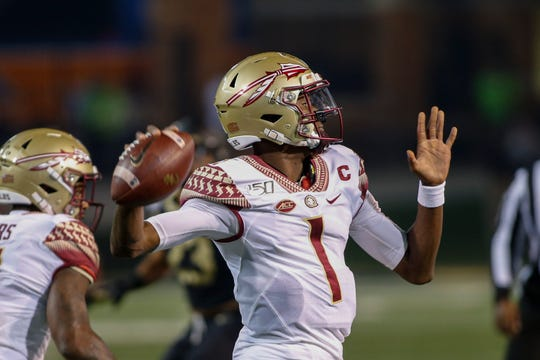 Florida State quarterback James Blackman looks to pass against Wake Forest in the first half of an NCAA college football game in Winston-Salem, N.C., Saturday, Oct. 19, 2019. (AP Photo/Nell Redmond)