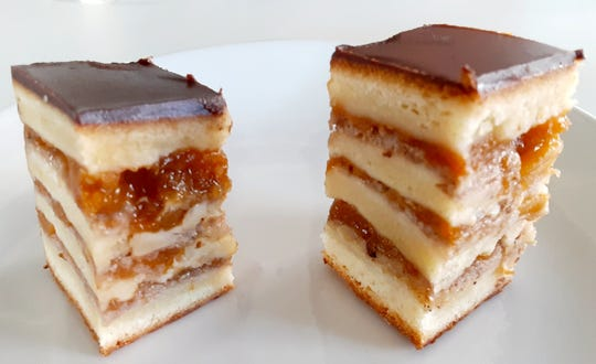 Gerbeaud cake is a traditional Hungarian dessert served at Bomboloni Bakery & Cafe in Jensen Beach.